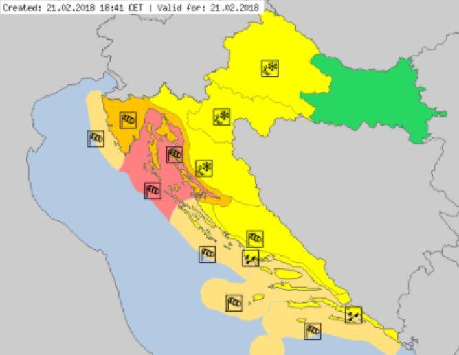 Ostrzeżenia meteorologiczne w Chorwacji (meteoalarm.eu)