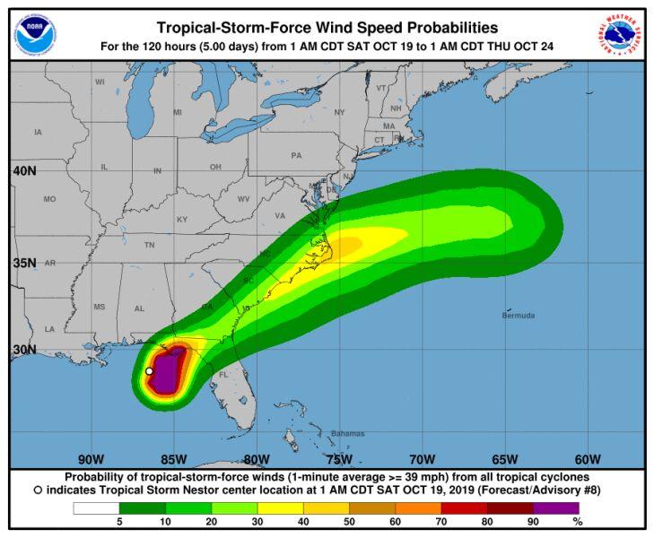 Prognozowany wiatr w burzy tropikalnej Nestor (NHC)