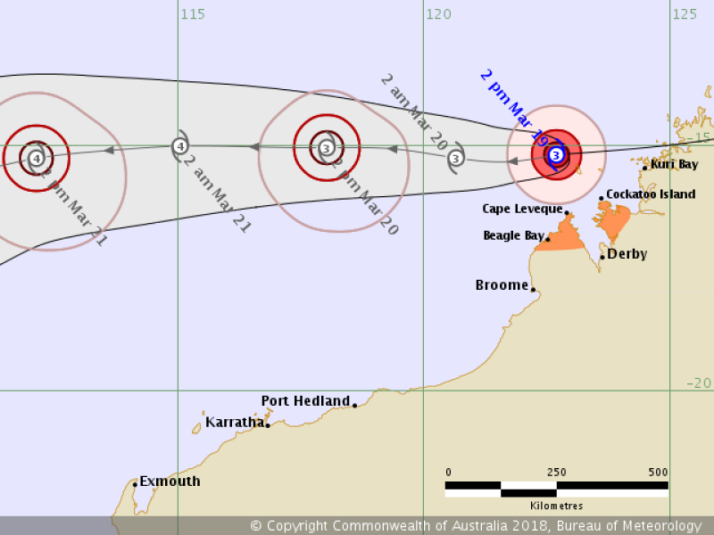 Prognozowana ścieżka przemieszczania się cyklonu Marcus (bom.gov.au)