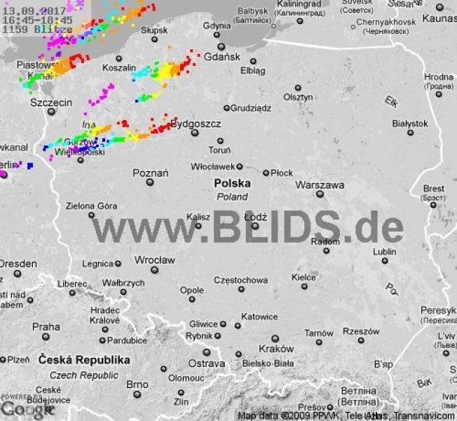 Burze nad Polską w godz. 16.45-18.45 (blids.de)