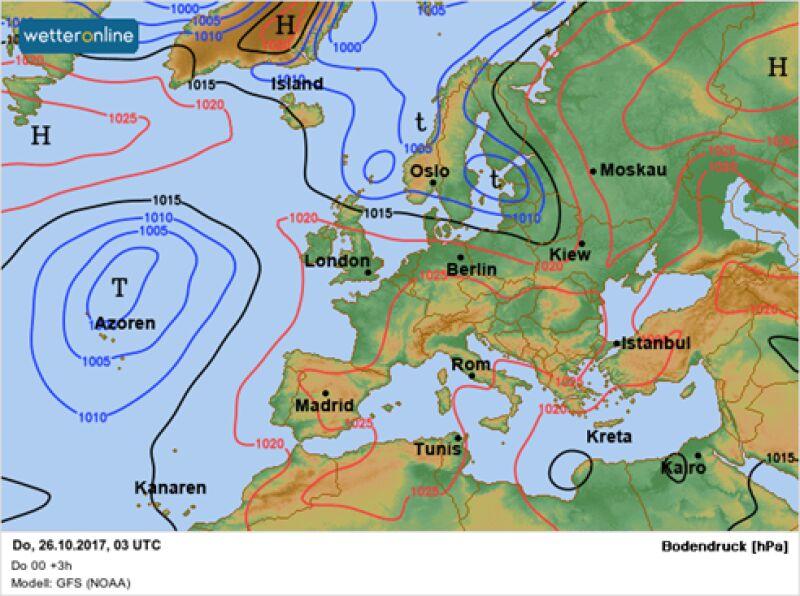 Sytuacja baryczna o poranku w czwartek 26.10.2017 (GFS/wetteronline)