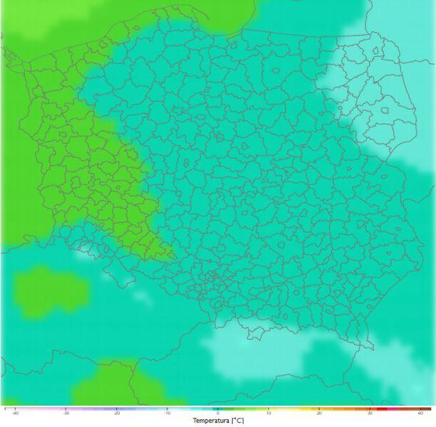 Średnia dobowa temperatura zimą w latach 2021-2030. Scenariusz RCP4.5 (klimada2.ios.gov.pl)
